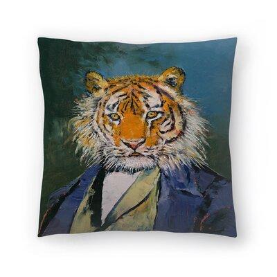 Gentleman Tiger Throw Pillow Size: 14 x 14
