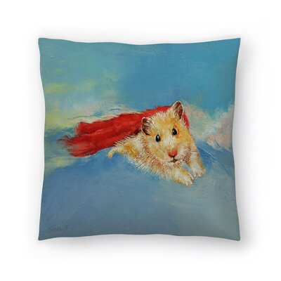 Hamster Superhero Throw Pillow Size: 16 x 16