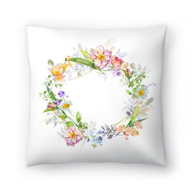 Floral Wreath Throw Pillow Size: 14 x 14
