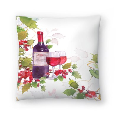Holly & Wine Throw Pillow Size: 18 x 18