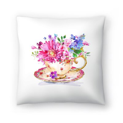 Cup Floral Throw Pillow Size: 18 x 18