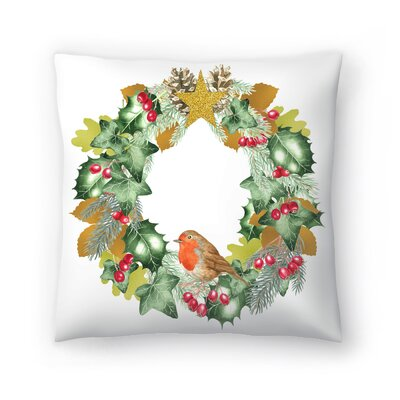 Christmas and Metallic Leaf Wreath Throw Pillow Size: 16 x 16