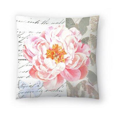 Peach Peony Butterflies Throw Pillow Size: 18 x 18