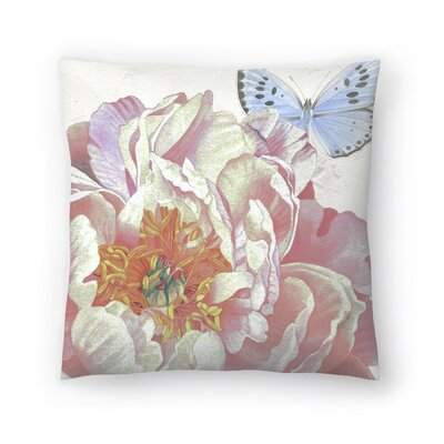 Large Peach Peony Blue Butterfly Throw Pillow Size: 18 x 18