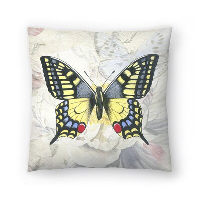 Swallowtail White Peony Throw Pillow Size: 14 x 14