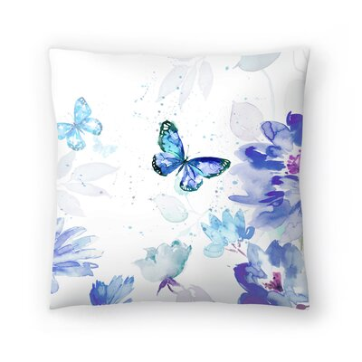 Butterflies in Blue Throw Pillow Size: 16 x 16