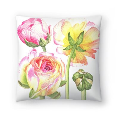 Ranunculus Throw Pillow Size: 14