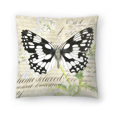 Marbledwhite Cow Parsley Throw Pillow Size: 14 x 14