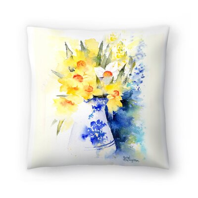 Daffs in Blue and White Vase Throw Pillow Size: 16 x 16
