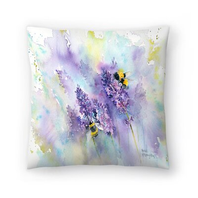 Bees and Lavender Throw Pillow Size: 18 x 18
