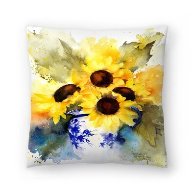 Sunflowers in Blue and White Vase Throw Pillow Size: 14 x 14