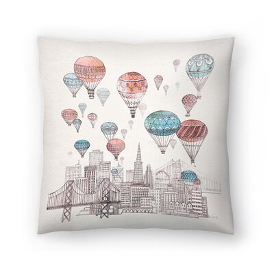 Voyages Over San Francisco Throw Pillow Size: 14 x 14