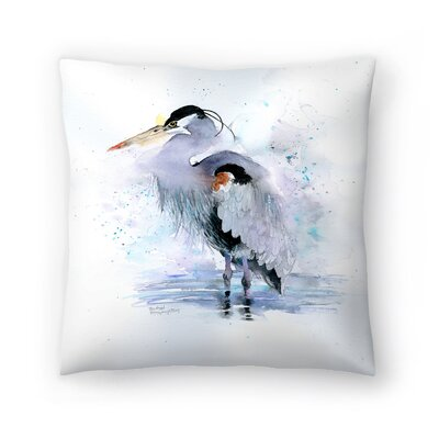 Splashy Heron Throw Pillow Size: 16 x 16