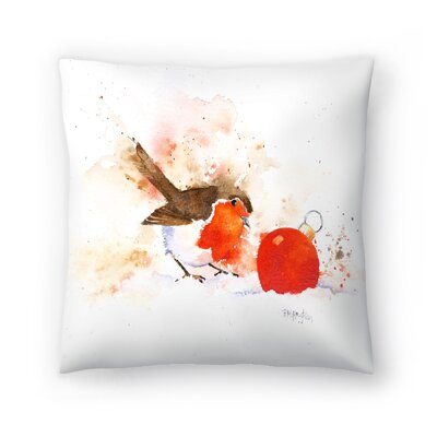Splashy Robin And Bauble Throw Pillow Size: 20 x 20