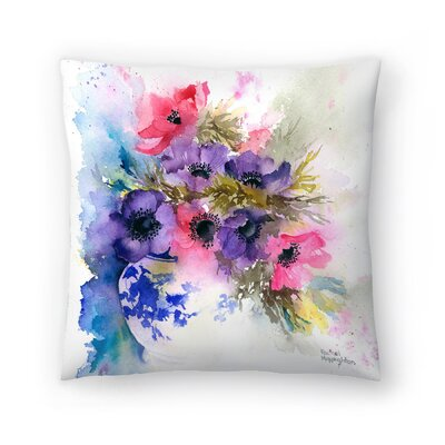 Anemones in Blue And White Vase Throw Pillow Size: 20 x 20