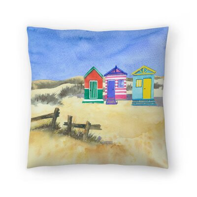 Beach Huts Throw Pillow Size: 16 x 16