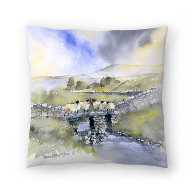 Sheep on a Bridge Throw Pillow Size: 16