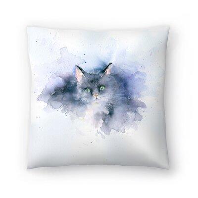 Splashy Cat Throw Pillow Size: 14