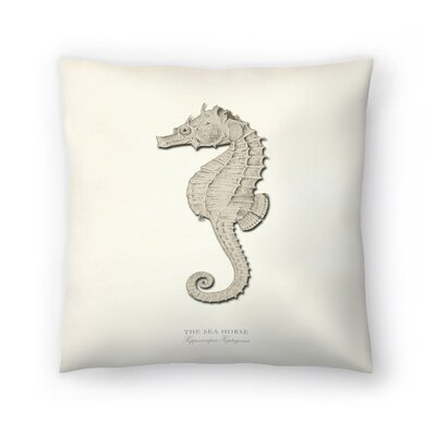 Greige Sea Horse Throw Pillow Size: 16