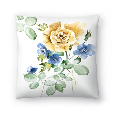 Watercolor Rose Throw Pillow Size: 16 x 16