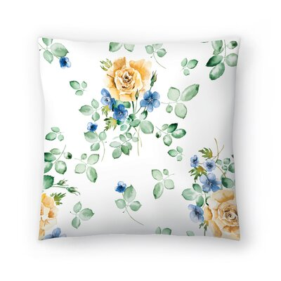 Watercolor Yellow Rose Throw Pillow Size: 14 x 14