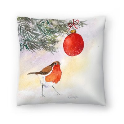Robin and Bauble Throw Pillow Size: 20