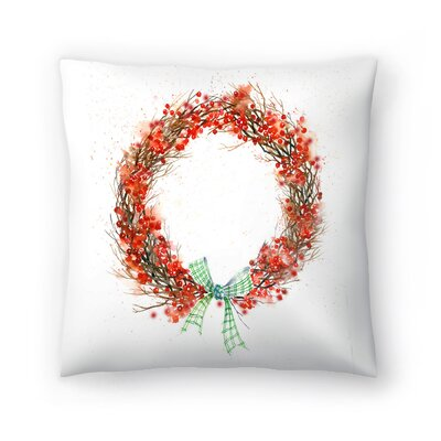 Twig and Berry Wreath Throw Pillow Size: 16 x 16