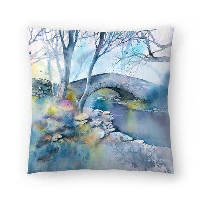Winter Bridge Throw Pillow Size: 18 x 18
