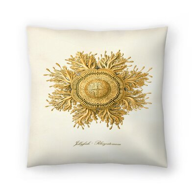 Gold Jelly Fish Throw Pillow Size: 16 x 16