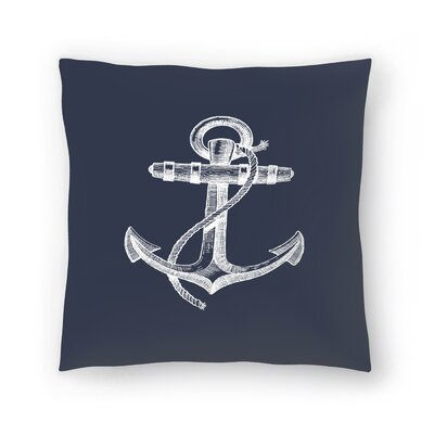 Navy Anchor Throw Pillow Size: 20 x 20