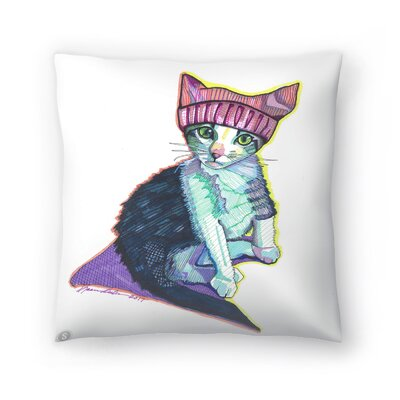 Feminist Kitty Throw Pillow Size: 14 x 14