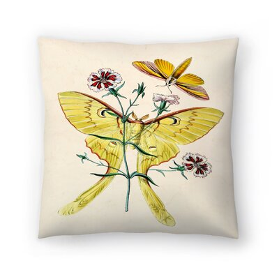 Yellow Moth Throw Pillow Size: 14