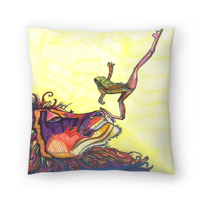 Frog And Lion Throw Pillow Size: 18 x 18