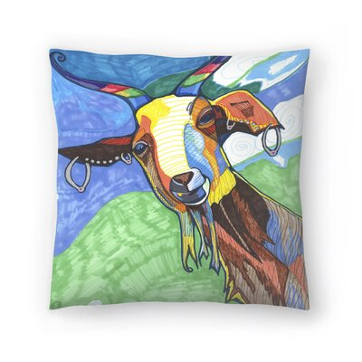 Goat With Earings Dirks Throw Pillow Size: 20 x 20