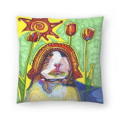 Guinea In Bonnet Pauline Throw Pillow Size: 18 x 18