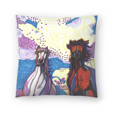 2 Horses First Date Throw Pillow Size: 16 x 16