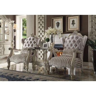 Leday Brown Velvet Armchair Upholstery Color: Ivory/Bone White