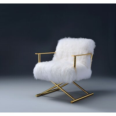 Keisler Wool and Gold Brass Side Chair