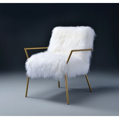 Keister Wool and Gold Brass Side Chair