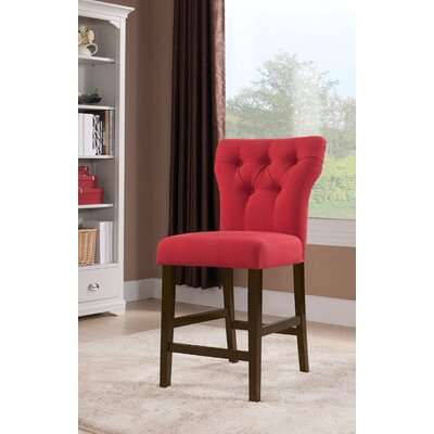 Jamil Counter Height Side Chair Upholstery Color: Red