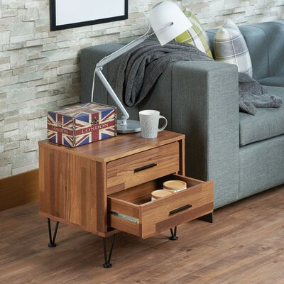 Laskey Contemporary 2 Drawers Nightstand Color: Brown