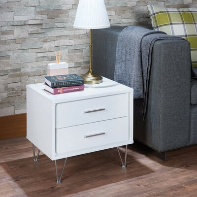 Laskey Contemporary 2 Drawers Nightstand Color: White