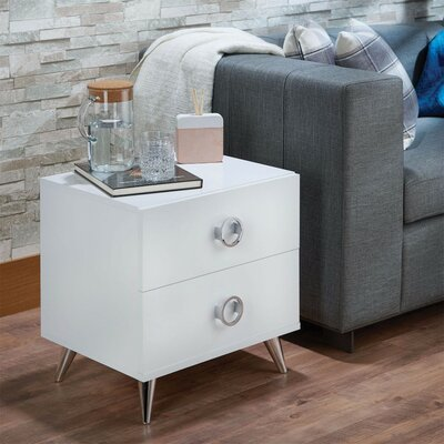 Crowell Modern Style 2 Drawer Nightstand Color: White