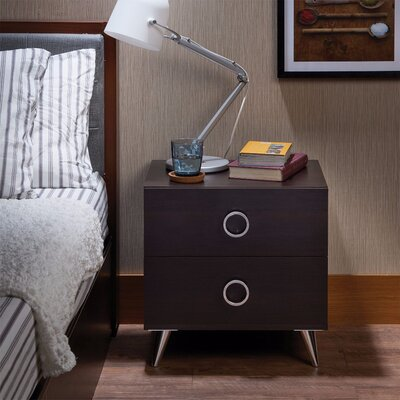 Crowell Modern Style 2 Drawer Nightstand Color: Brown