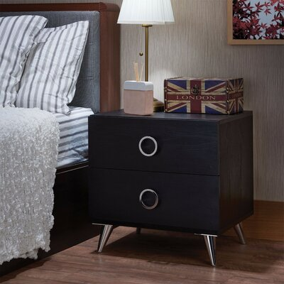 Crowell Modern Style 2 Drawer Nightstand Color: Black