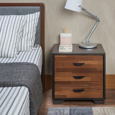 Battin Rectangular 3 Drawers Nightstand Color: Brown