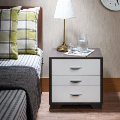 Battin Rectangular 3 Drawers Nightstand Color: White