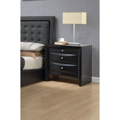 Zhu 2 Drawer Nightstand Color: Black