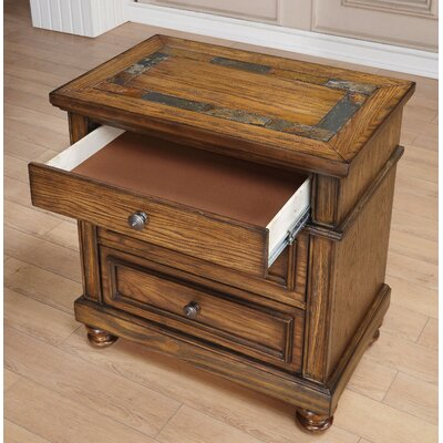 Banat Transitional Style 3 Drawers Wood Nightstand