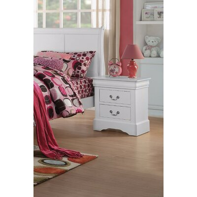 Thorndike Traditional 2 Drawers Nightstand Color: White